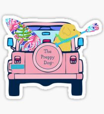 Preppy Pink Jeep Golden Retriever SUP Board Sticker