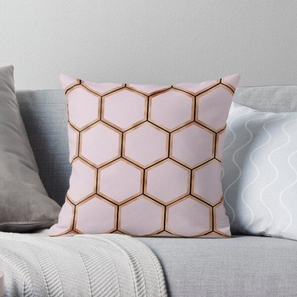 black onyx copper hexagons throw pillow by peggieprints redbubble