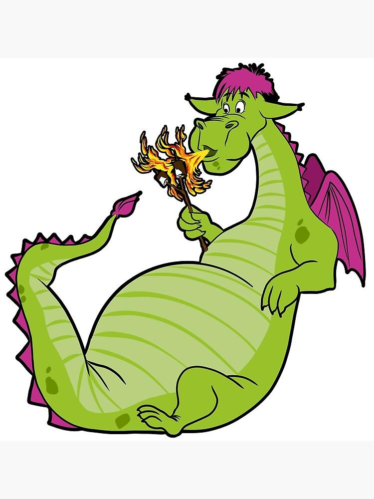 Elliot The Fire Breathing Dragon Postcard By Johnnettlesart Redbubble
