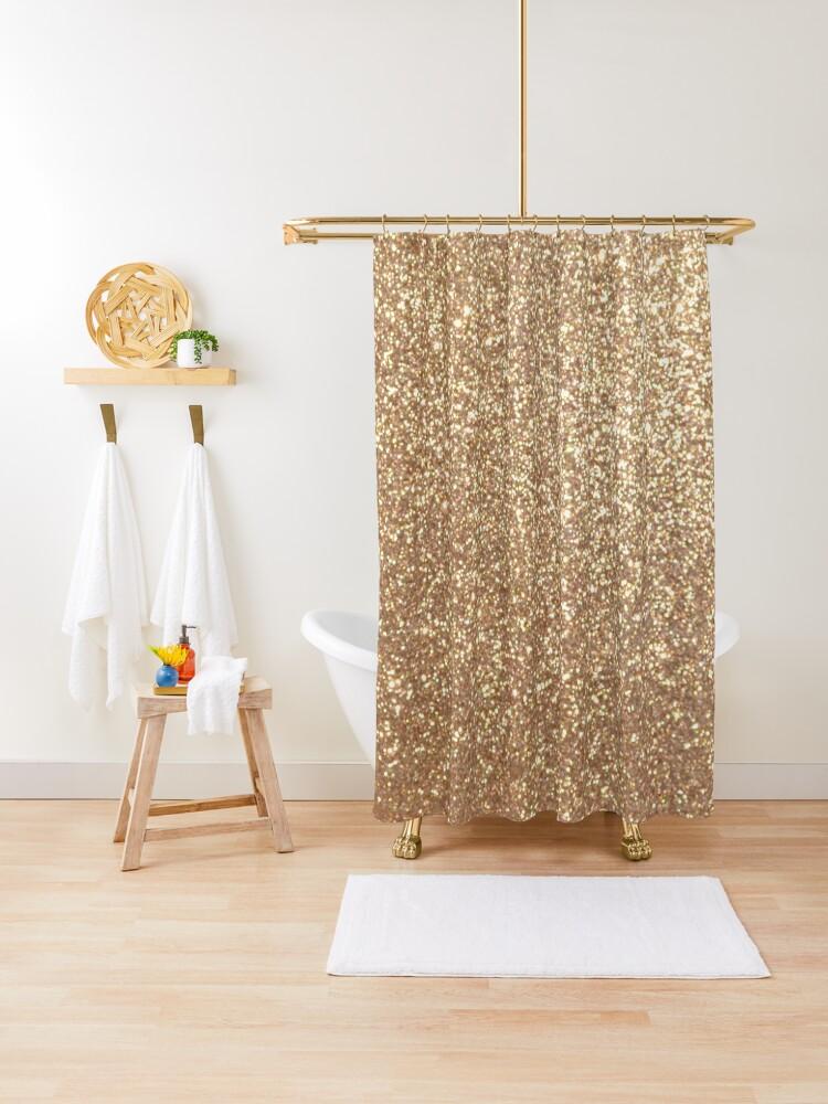 copper rose gold metallic glitter shower curtain by podartist redbubble