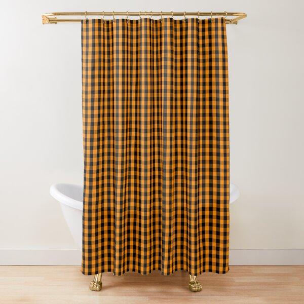 dark pumpkin orange and black gingham check pattern shower curtain by creepyhollow redbubble