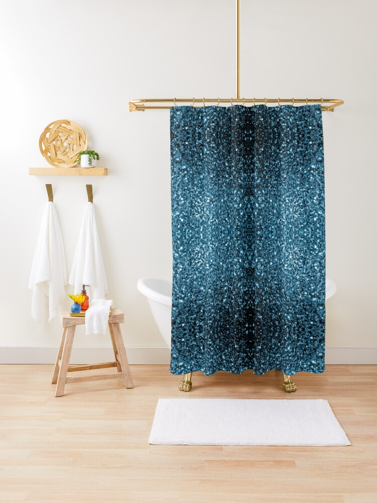 beautiful baby blue glitter sparkles shower curtain by pldesign redbubble