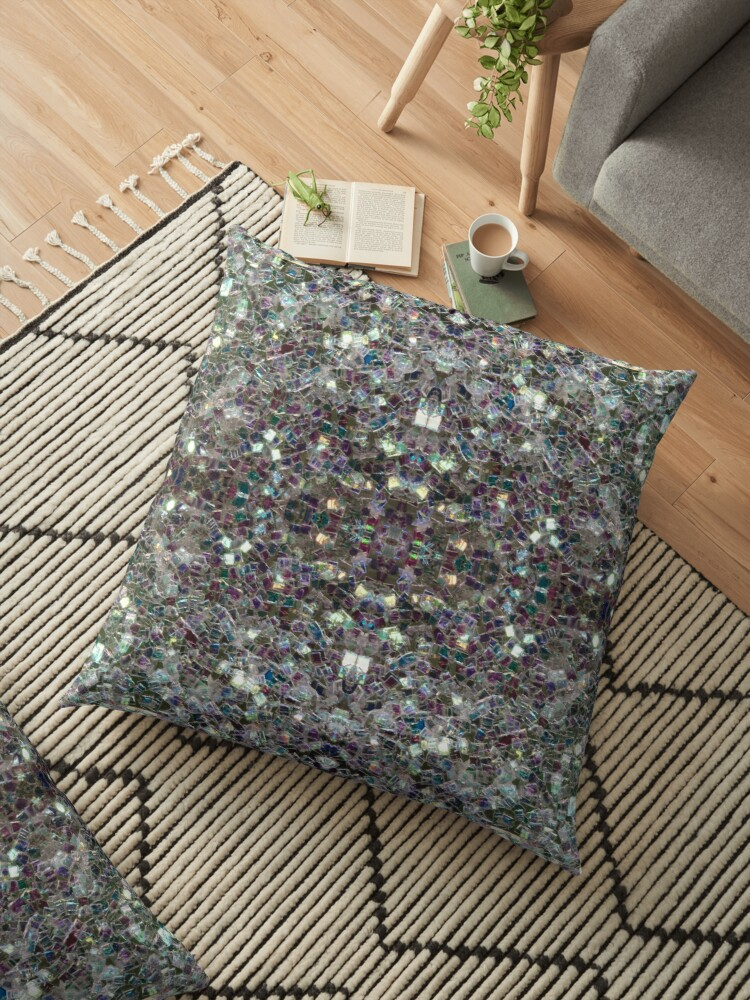 sparkly colourful silver mosaic mandala floor pillow by pldesign redbubble