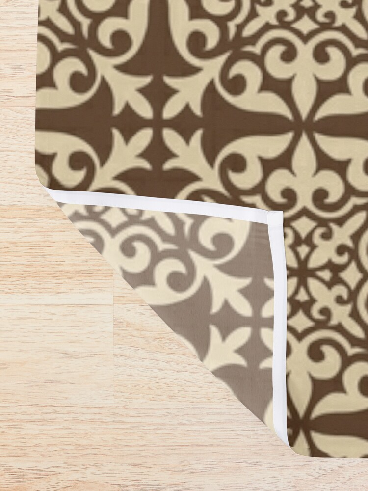 rideau de douche tuile marocaine marron chocolat et beige par marymarice redbubble