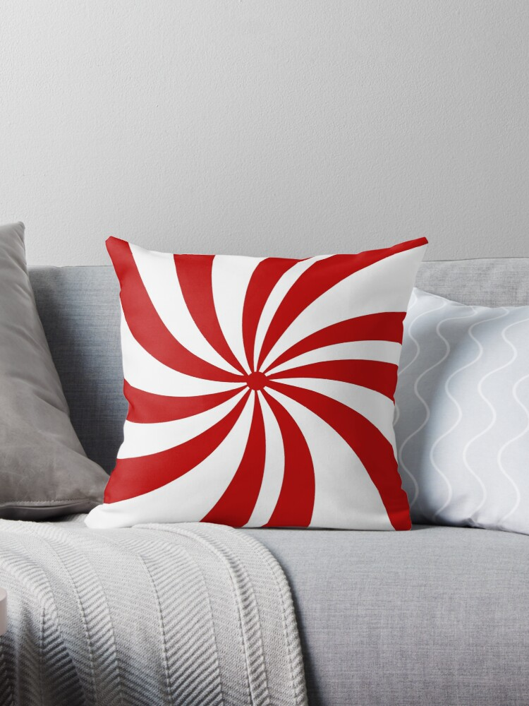 merry xmas red white swirls christmas candy cane throw pillow by lfang77 redbubble