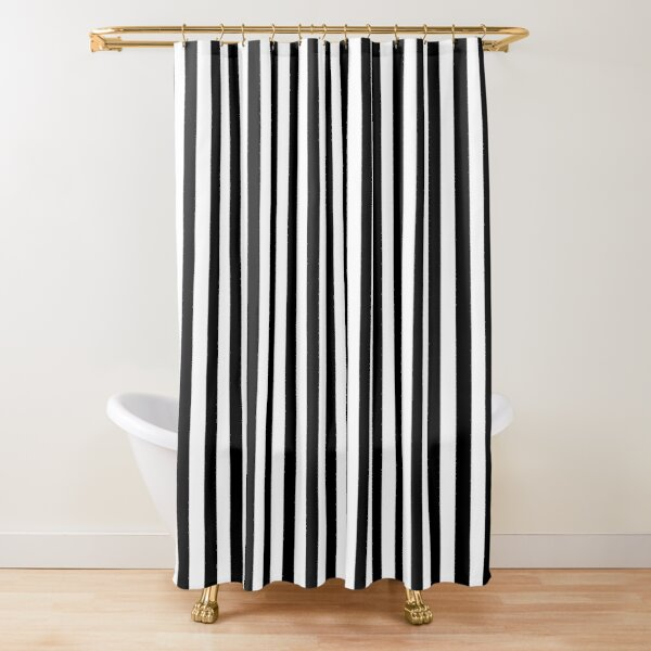 black white and red vertical stripes classic cabana stripe shower curtain by koovox redbubble