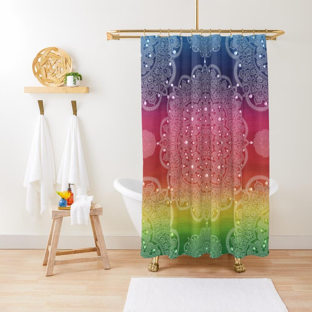 mandala rainbow soul zen yoga meditation mandala shower curtain by imagemonkey redbubble