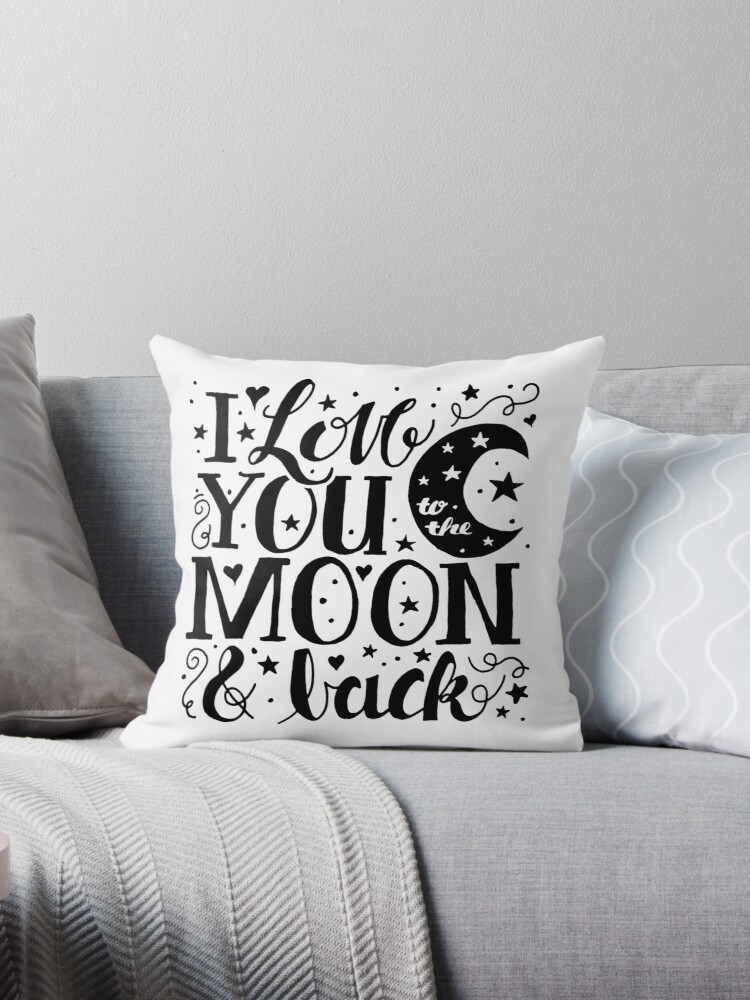 i love you to the moon and back throw pillow by latheandquill redbubble