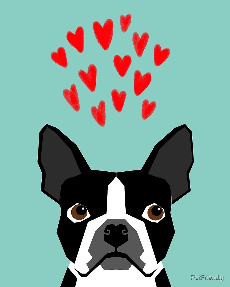 Boston Terrier Hearts Cute Funny Dog Cute Valentines Dog Pet Cute Animal Dog Love By