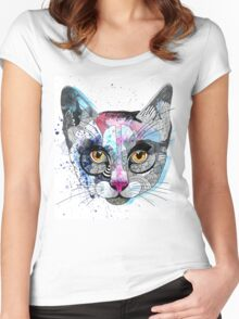 Cats: Women's T-Shirts illustration of a cat with watercolor textures and graphics