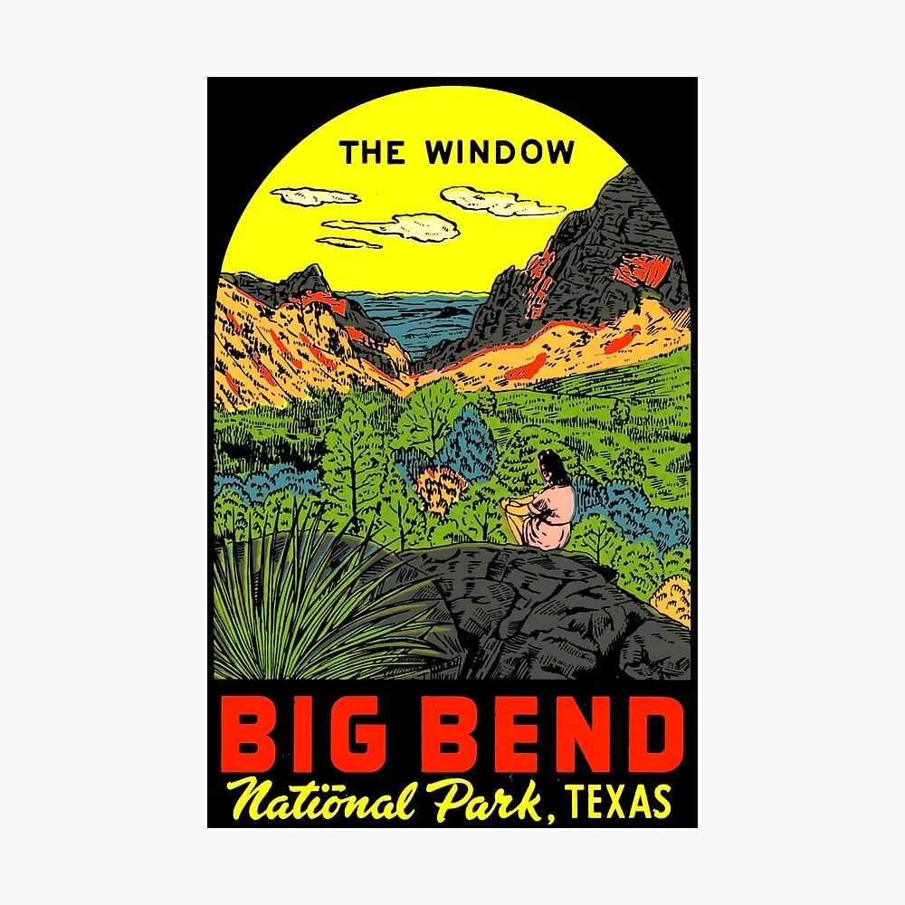 das fenster big bend nationalpark vintage travel aufkleber poster von hilda74 redbubble