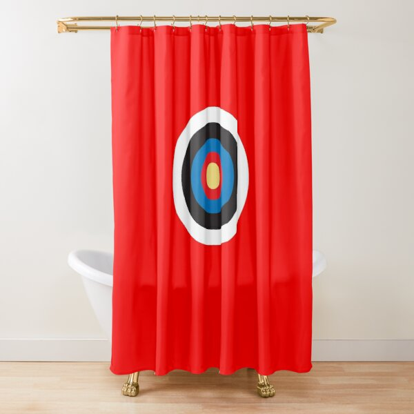 bulls eye target right on target roundel archery on black shower curtain by tomsredbubble redbubble