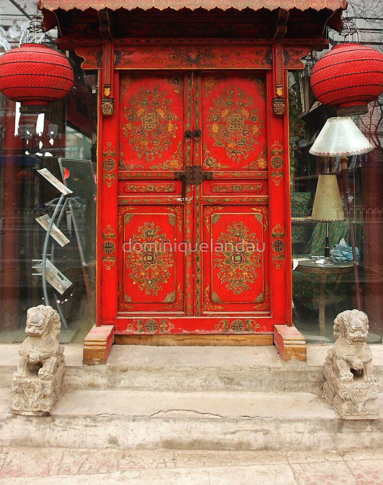 Chinese Red Door By Dominiquelandau Redbubble