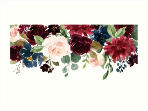 Burgundy Blue Watercolor Flowers Border  Art Prints by junkydotcom     Burgundy Blue Watercolor Flowers Border by junkydotcom