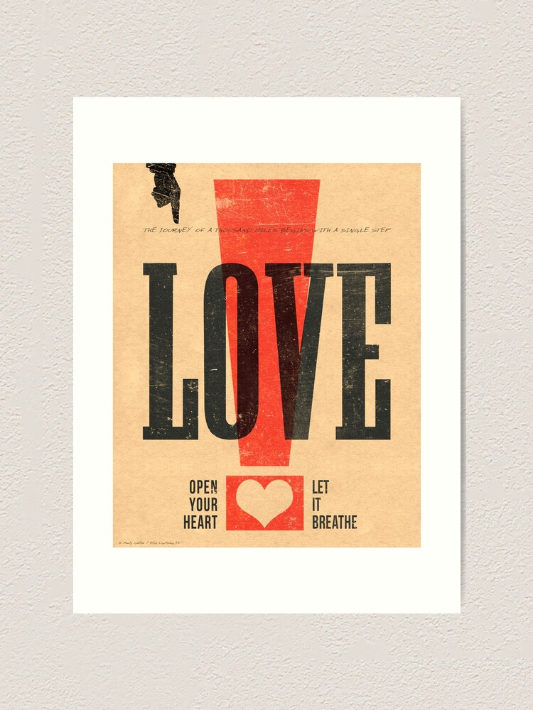 love vintage letterpress poster art print by bltv redbubble