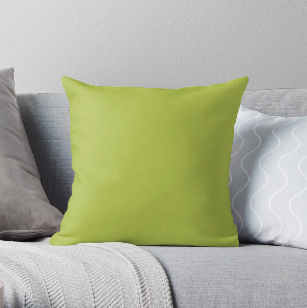 cheapest solid bright avocado green color throw pillow by cheapest redbubble