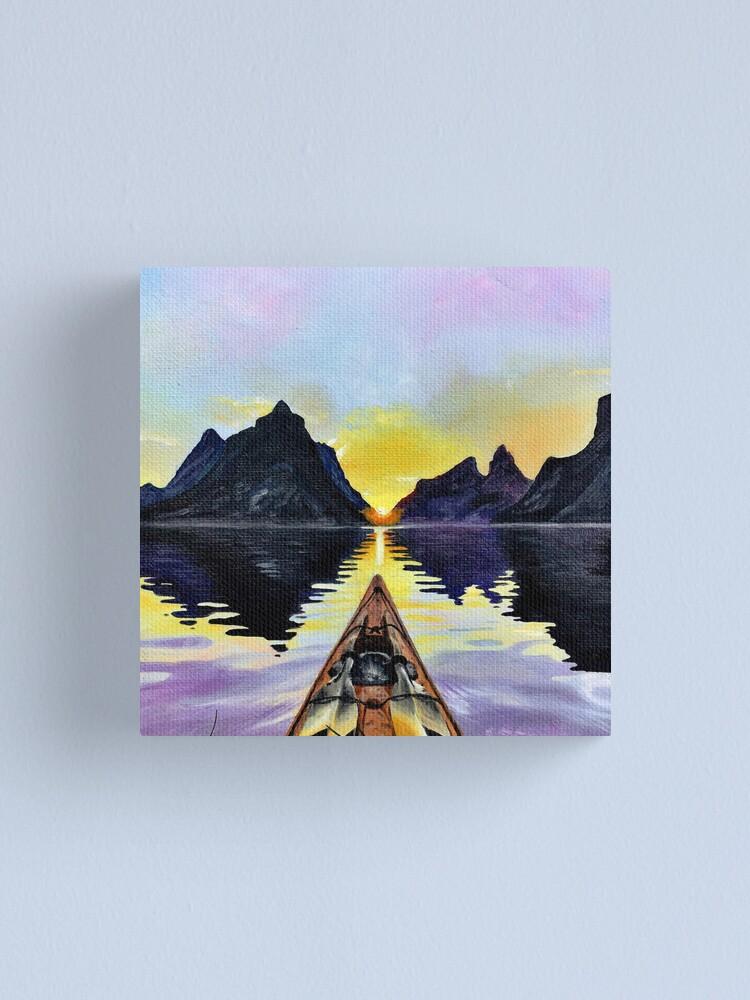 impression sur toile bateau avec eau montagnes et coucher de soleil jolie peinture acrylique par maiajak redbubble