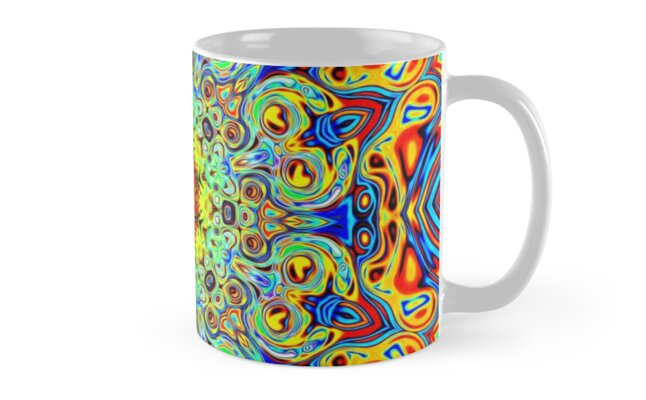 Psychedelic Melting Pot Mandala ceremonial cups and tea mugs