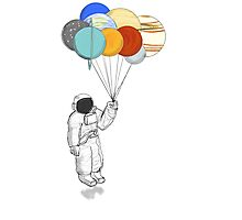 quotAstronaut with Balloon Planetsquot Stickers by Miguel