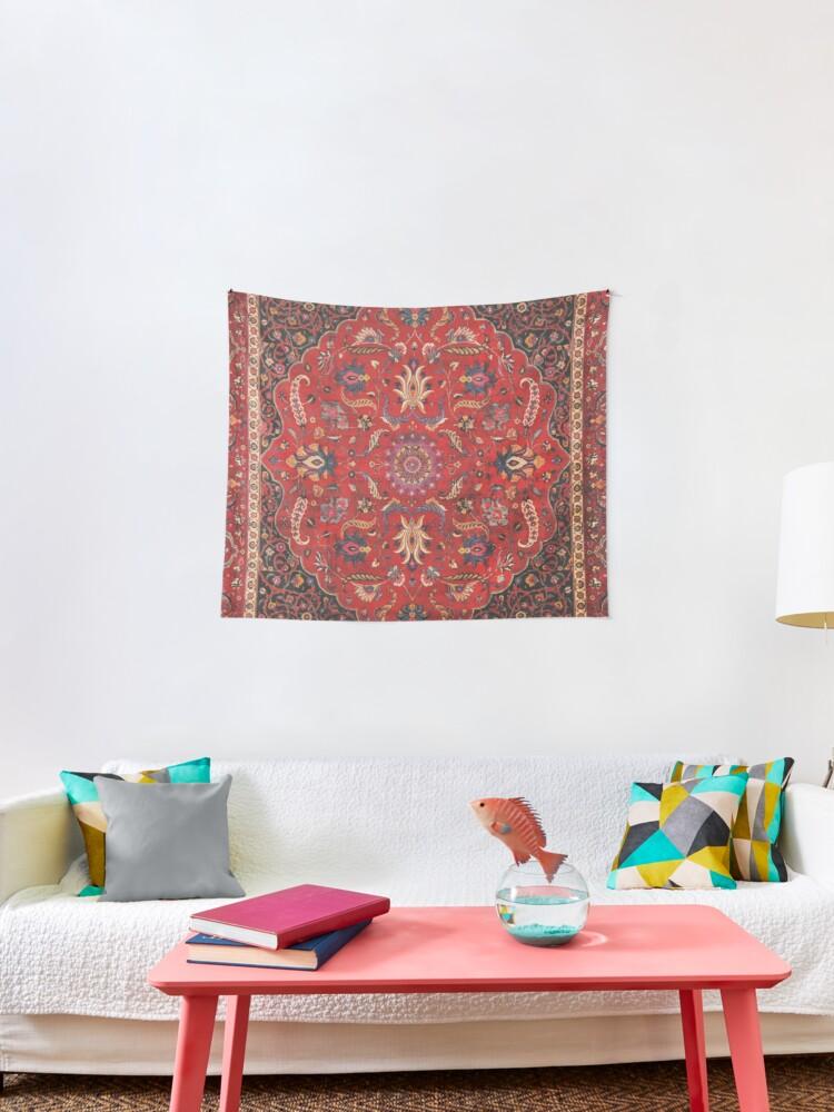 tentures tapis persan rouge motif tapis vintage par bragova redbubble