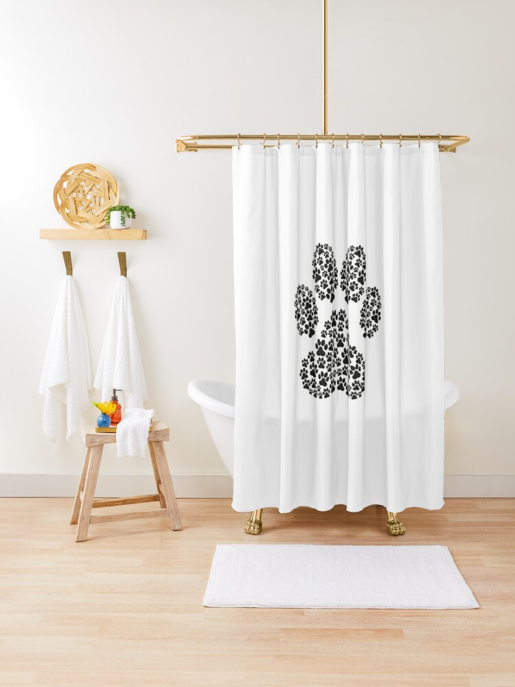 dog paw print shower curtain by sterlingtales redbubble