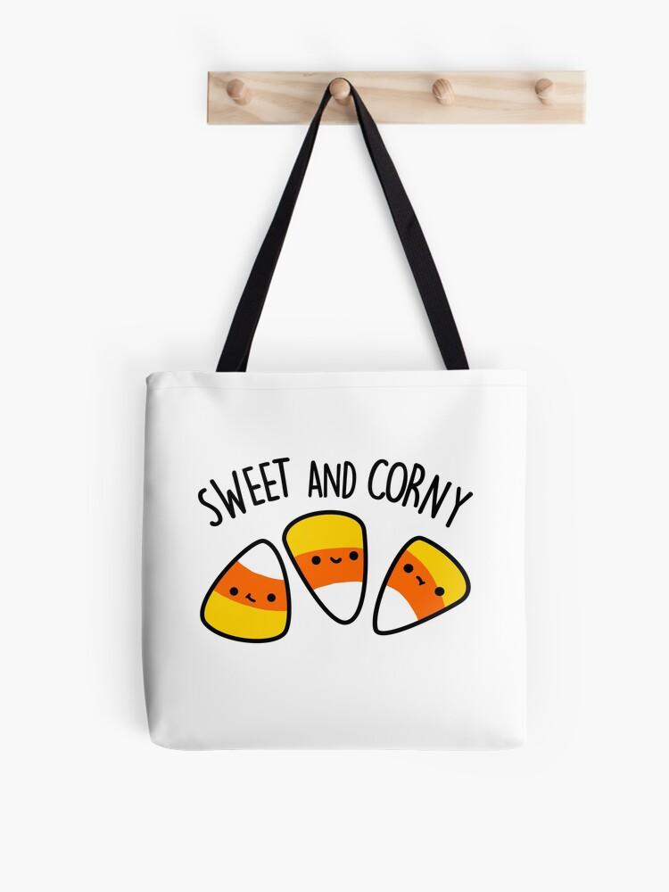 Large candy corn treat bag: Cute Candy Corn Halloween Pun Tote Bag By Punnybone Redbubble
