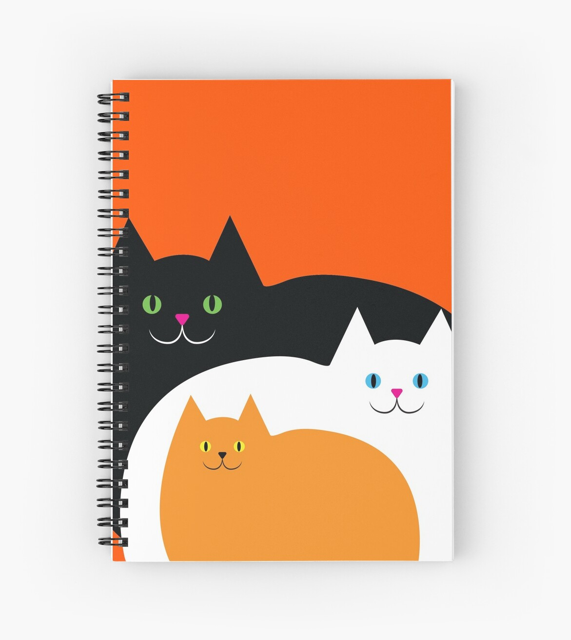 Fat Cat Family On Halloween Spiral Notebook By