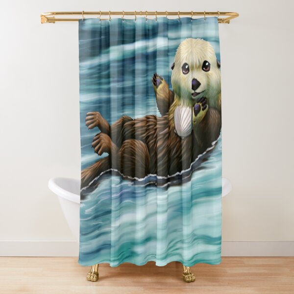 sea otter shower curtains redbubble