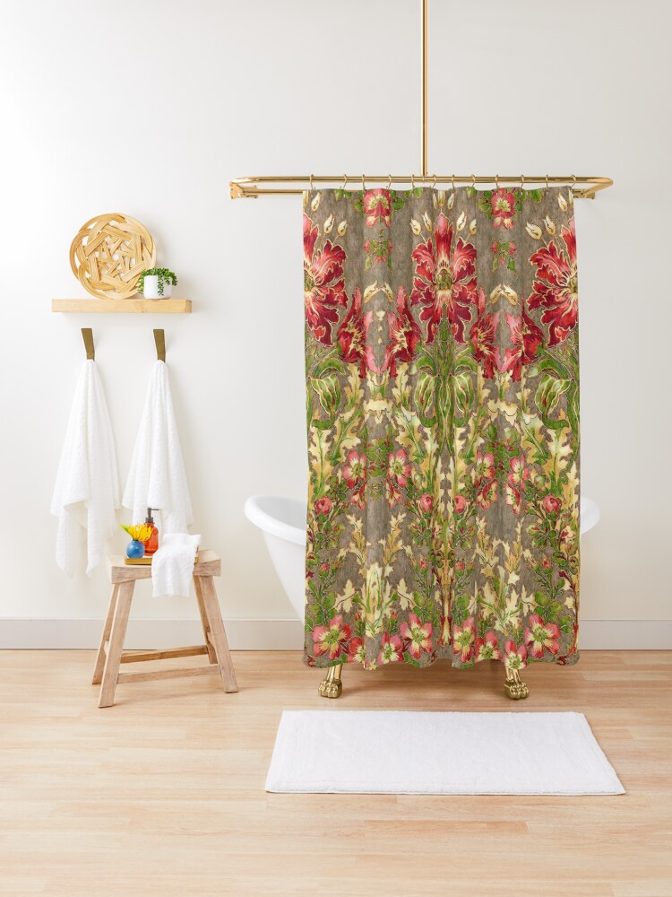 claridge manor red flowers wild roses green floral shower curtain by bulganlumini redbubble