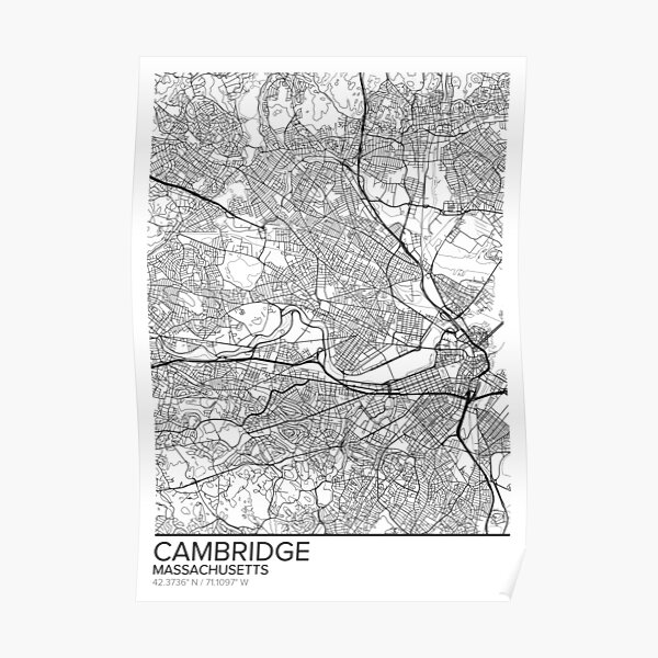 cambridge map posters redbubble