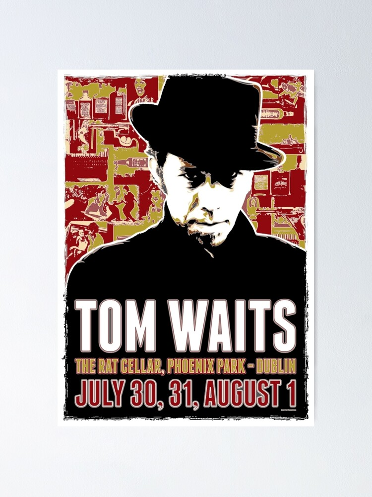 vintage tom retro waits concert poster by threeampersands redbubble