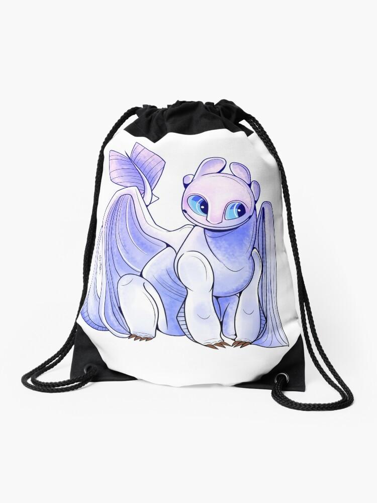 How To Train Your Dragon 3 Light Fury Drawstring Bag By Jrgoyette Redbubble