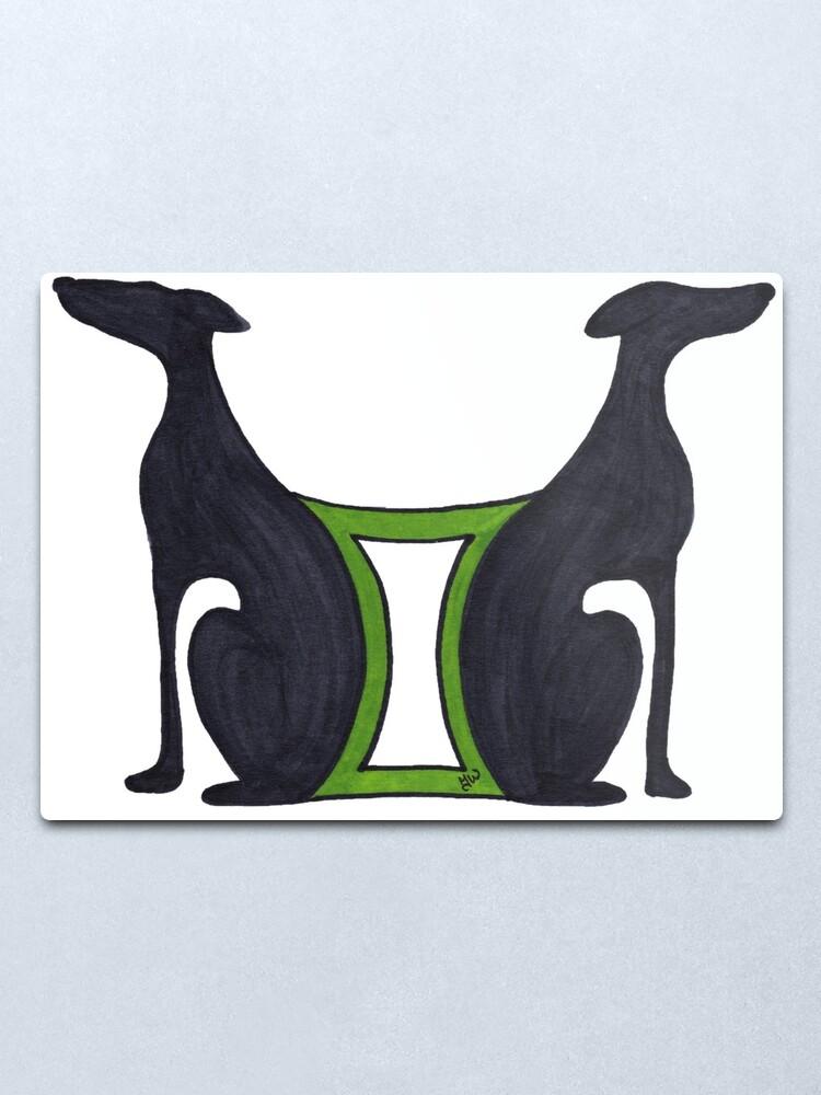 "Gemini - Greyhound Art Deco Horoscope The Twins Astrology"" Metal Print by JaneWrenArt   Redbubble"