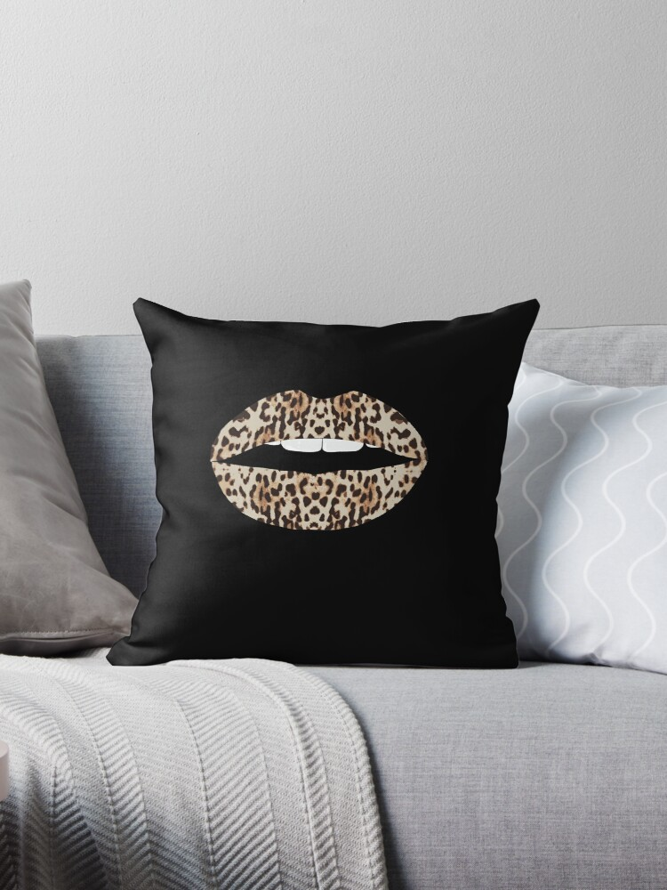 cheetah pattern lips leopard fur kiss mouth animal print throw pillow by borndesign redbubble