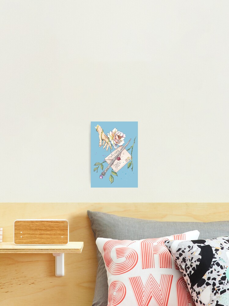 a poster with a letter magic wand a rose and a hand watercolor with contour blue option photographic print by sasha matbon redbubble