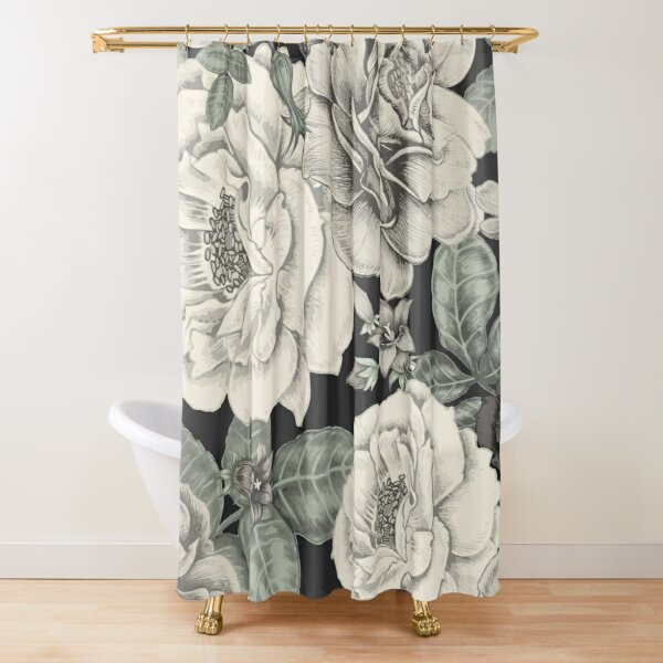 cream flowers on black shower curtain by magicdreams redbubble