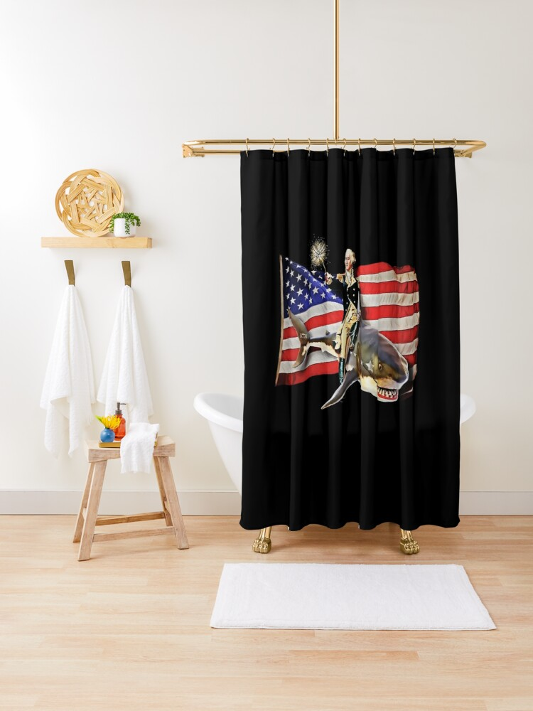 george washington riding shark american flag shower curtain by holidayweek redbubble