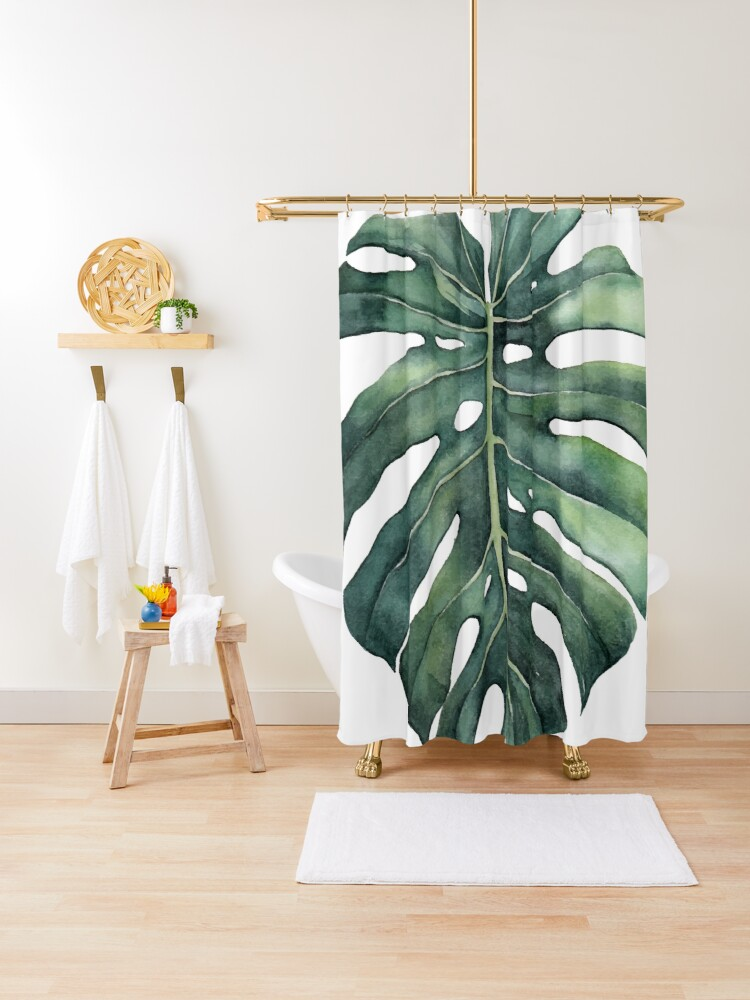 monstera deliciosa leaf shower curtain by lulireis redbubble