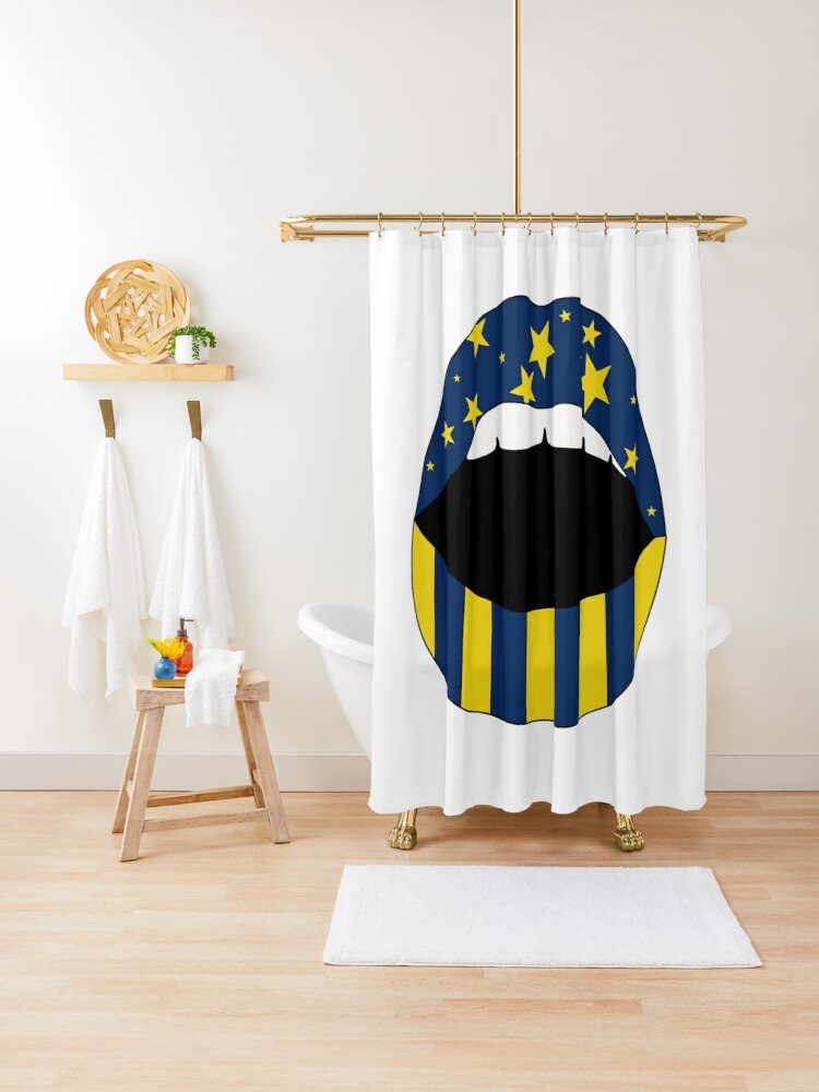 university of michigan mouth shower curtain by savmedley redbubble