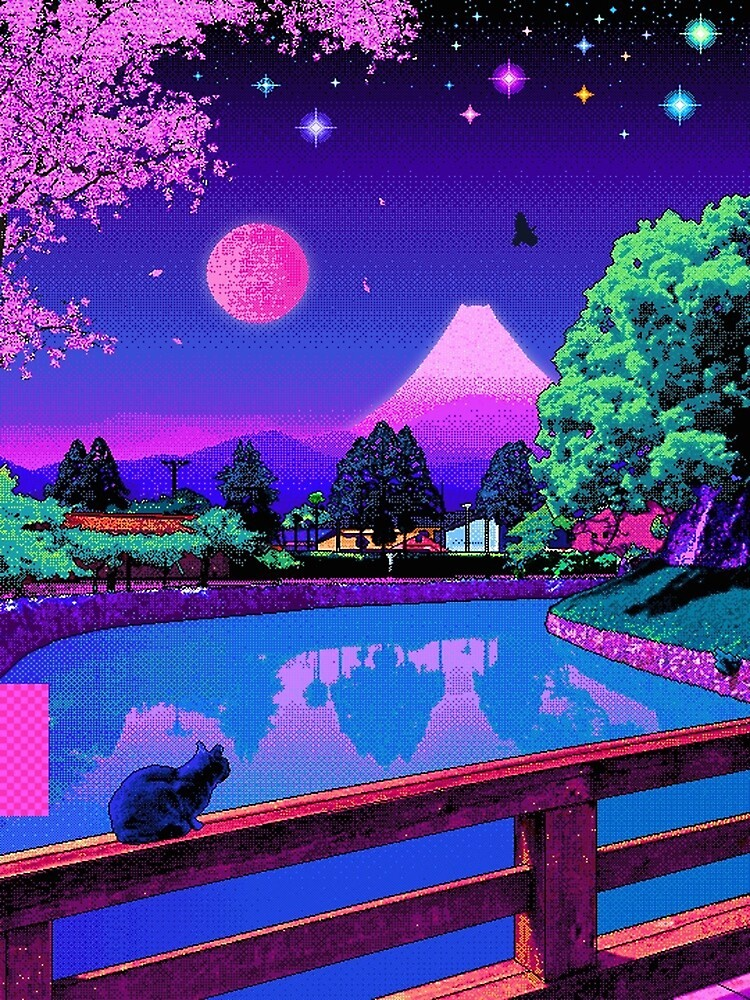 """Shop affordable wall art to hang in dorms, bedrooms, offices, or anywhere blank walls aren't welcome. """"Aesthetic 80s Pixel Art Japan Design Kawaii Cat """" Poster ..."""