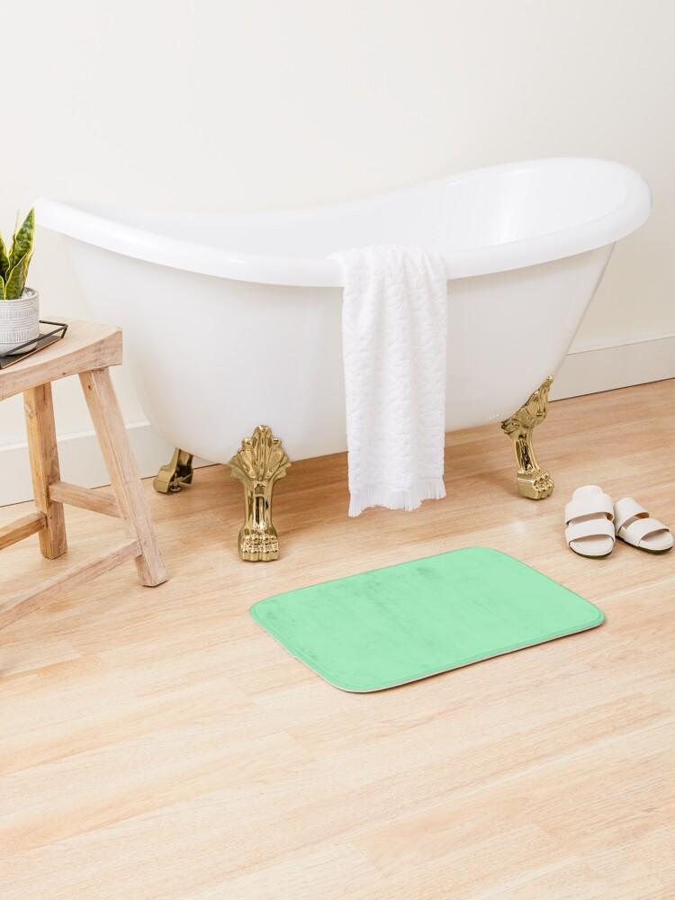 tapis de bain couleur unie vert menthe fraiche par podartist redbubble