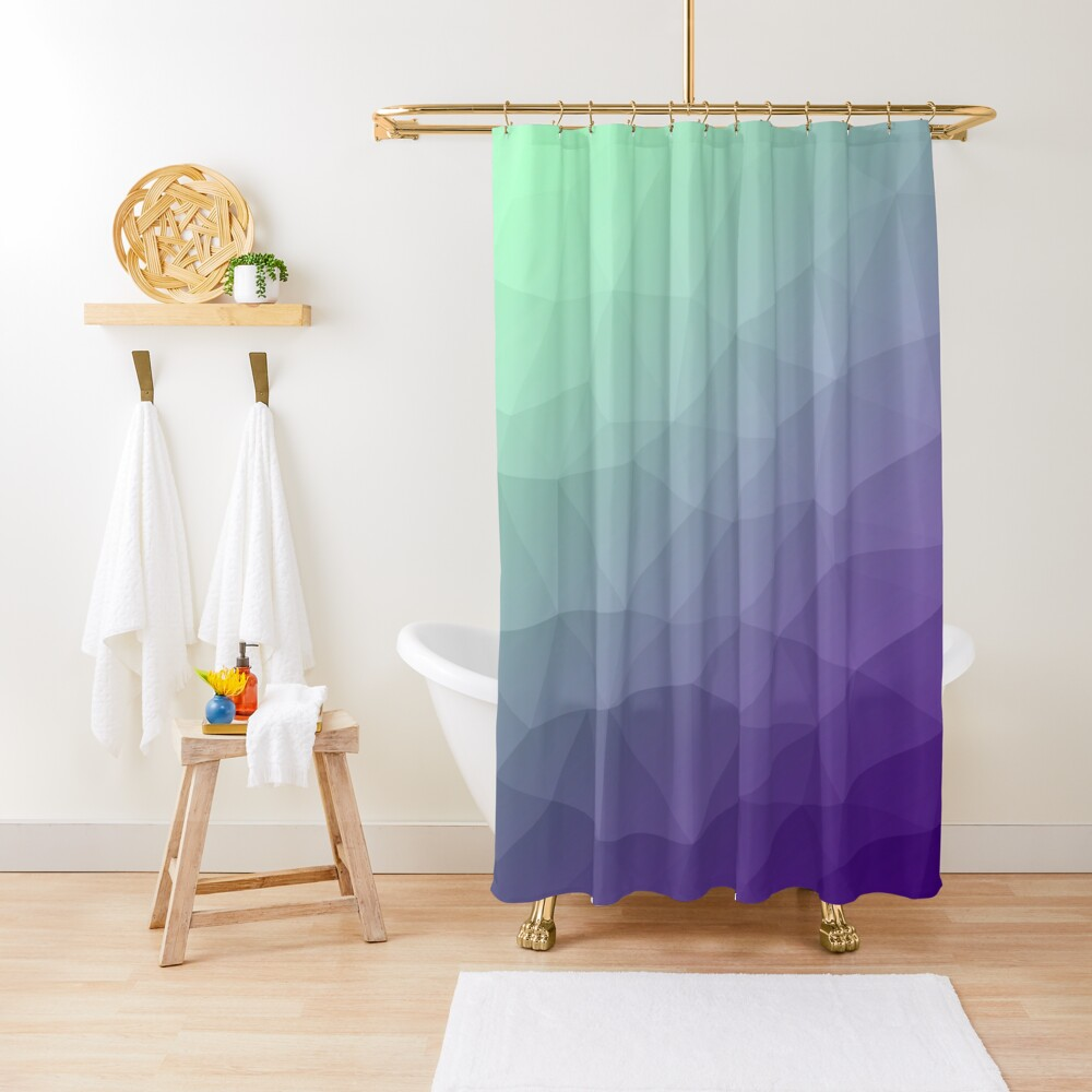 purple green ombre gradient geometric mesh pattern shower curtain by pldesign redbubble