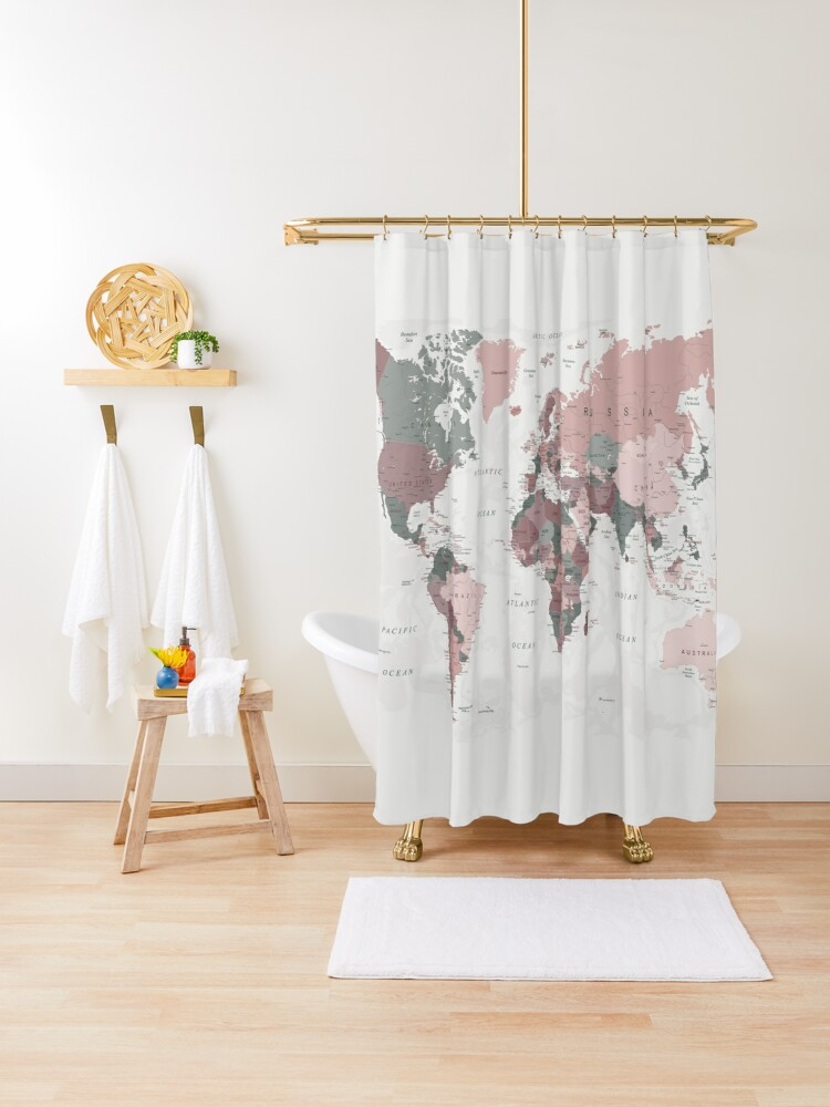 map of the world in pink and green shower curtain by urbanepiphany redbubble
