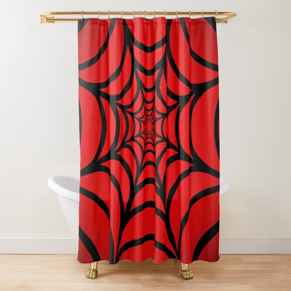 red spiderman shower curtains redbubble
