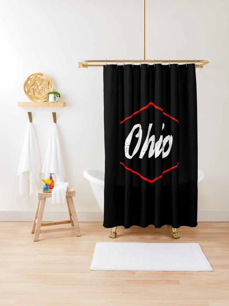 ohio state shower curtain by krishnesh redbubble