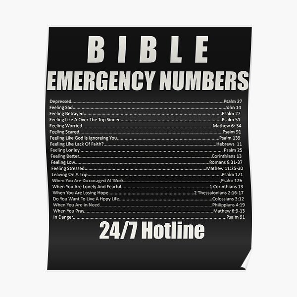 bible emergency numbers poster by tank2020 redbubble