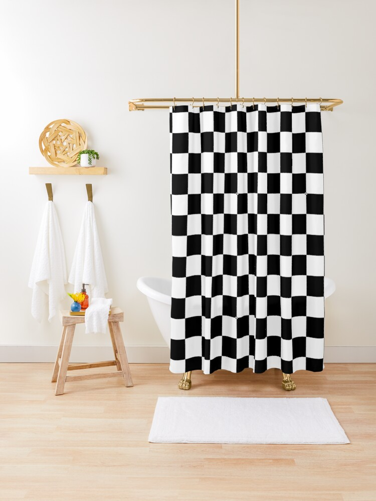 black and white checkered shower curtain by gatae redbubble