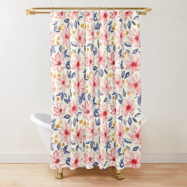 navy gold pink watercolor floral mint shower curtain by tigatiga redbubble
