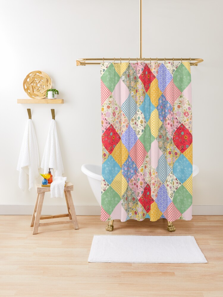 happy cottage patchwork diamonds by tea with xanthe shower curtain by teawithxanthe redbubble