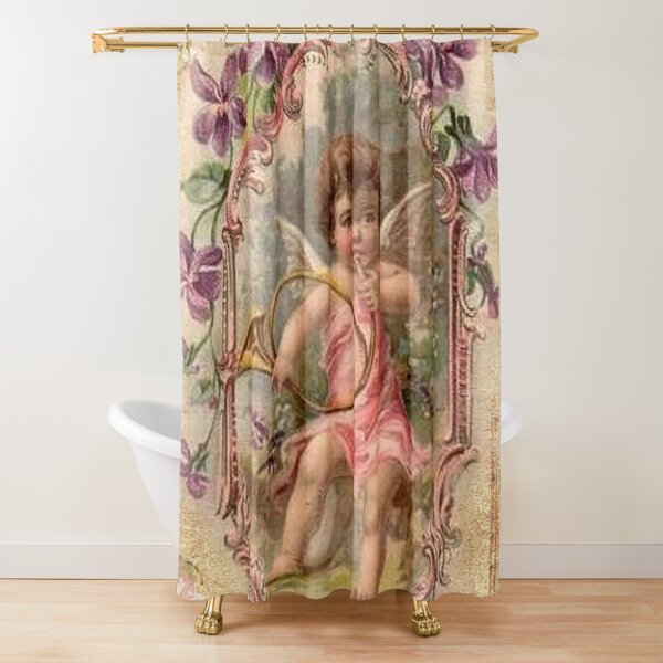 vintage angel shower curtains redbubble
